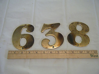 Lot of 3 Antique Vintage Thick Solid Brass House Numbers 3-8-6 or 9