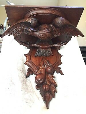 Antique Deepley Carved Black Forest Wall Shelf Eagle