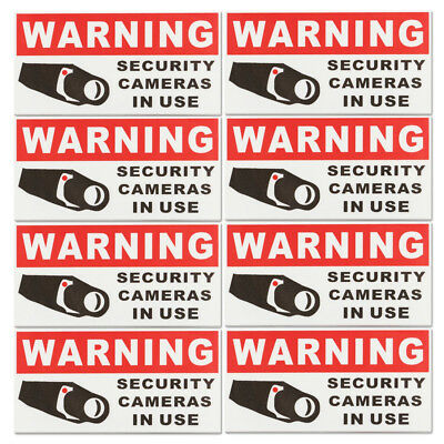 8x Security Camera In Use Self-adhensive Stickers Safety Signs Decal Waterproof