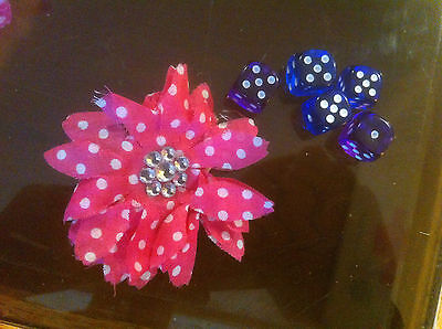 Claire's Claires Accessories Official Head Hair Clip Spotty Pink Flower £3 RRP