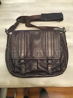 Burberry Mens Briefcase Messenger Grain Leather Crossbody Bag Brown