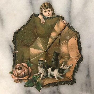 Antique Victorian Girl with Umbrella and Kittens Die Cut Scrap Trade Card