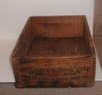 Antique Wooden Dovetailed Advertising Horse Nail Box Northwestern Fowler & Union