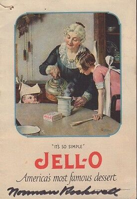 Jell-O Pamphlet 1916 Norman Rockwell Art SIGNED by Norman Rockwell COA 080517DBT
