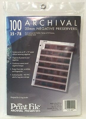 100 Pack Print File Archival 35mm Negative Sleeves Preservers 35-7B Clear