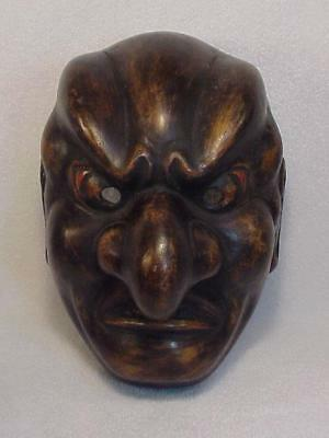 JAPANESE NOH DEMON MACHE THEATER MASK with MAKER LABEL