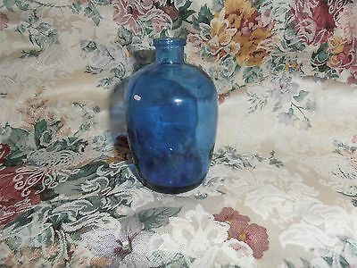"Vintage Unusual 4"" Blue glass Bottle with Tiny Neck. ""Hawick"" and ""3"" on Bottom"