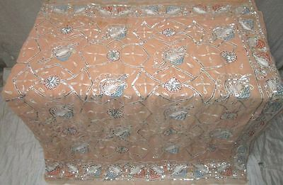 Peach Vintage Sari Saree Heavy Embroidery Hot Selling Shops Exotic Ladies #F46KN