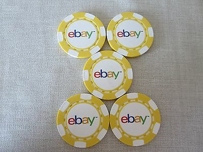 Set of 5 eBay Poker Chips Yellow Collectible New Logo Selling Seller Gamble