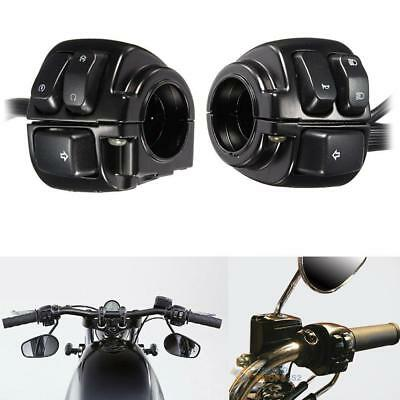 """2pcs Motorcycle 1"""" Handlebar Control Switches Aluminum+Wiring Harness for Harley"""