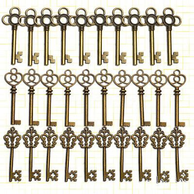 Large Skeleton Keys Antique Bronze Old Look Vintage Wedding Decor Set of 30 Key