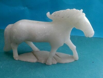 Vintage Chinese Pale Green Soapstone Carving Of A Horse