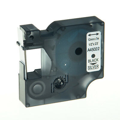 1PK Black on Silver Label Tape For Dymo D1 45022 LabelManager 450 300 280 160