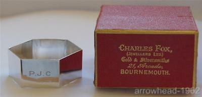 STUNNING VINTAGE SILVER SIX SIDED NAPKIN RING (1927) by WEW