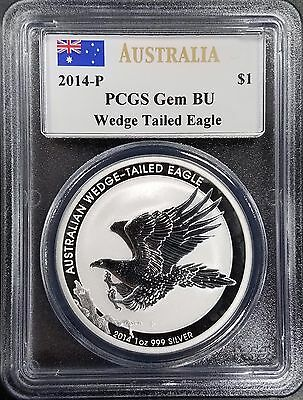 2014 P $1 Australian Wedge Tailed Eagle, PCGS Gem BU, Mercanti signature label!