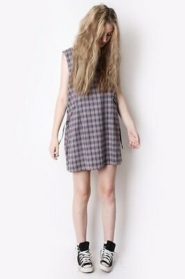 Vintage 90's grunge checked gingham plaid dress size 10