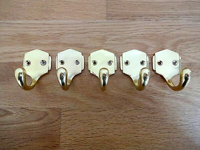 Set Of 5 Brass Art Deco Coat Hooks Door Knobs Handles