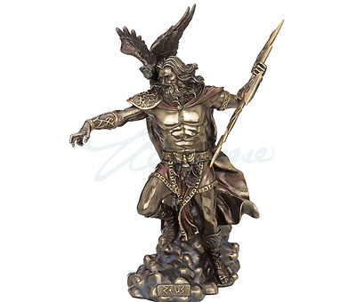 Large Zeus Sculpture Holding Thunderbolt W/Eagle Statue Figure - Bronze Finish