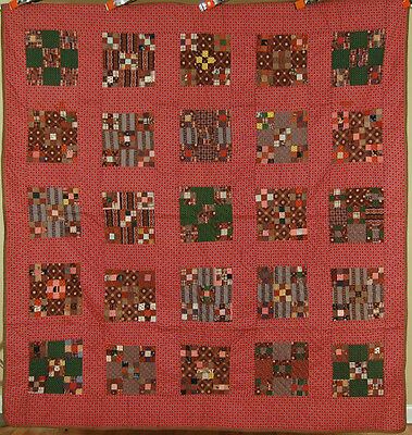 ELEGANT 1870's Double 9-Patch Postage Stamp Antique Quilt ~AMAZING EARLY FABRICS