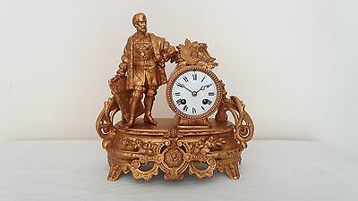 Antique French Figurative Mantel Clock with bell striking