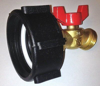 "275 - 330 GALLON IBC TOTE TANK ADAPTER  2"" COARSE x BRASS Hose FAUCET VALVE 46"