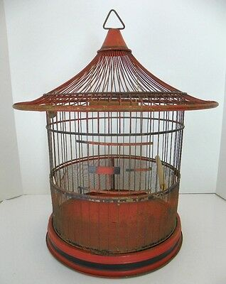 c1930s HENDRYX ART DECO BIRD CAGE BIRDCAGE, PERCH & SWING, ORIGINAL ORANGE PAINT