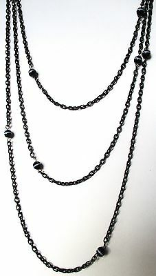 Victorian 56-Inch Gunmetal Chain With (10)  Banded Agate Bead Stations