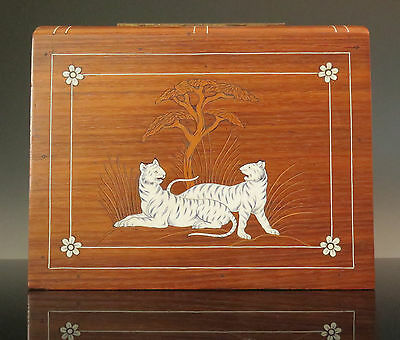 Antique Ango Indian Marquetry Rosewood Box Tigers Book Shape India