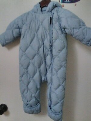 Lands End 6-12M Baby Bunting Snow Suit Blue Quilted Snowsuit Zip Up Hood