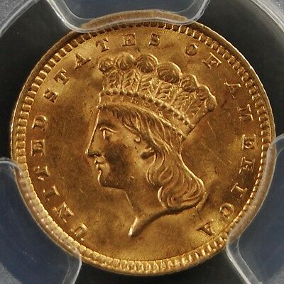 1857 G$1 Type 3 Large Head Gold Dollar PCGS MS64 CAC