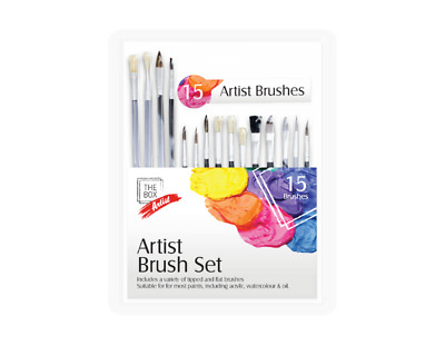 15 Piece Artist Brushes Set flat and tipped Arts Craft Paint Painting Brush Set