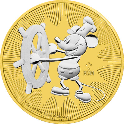 Nieu 2017 $2 Steamboat Willie Mickey Mouse 1 Oz Gilded Silver Coin