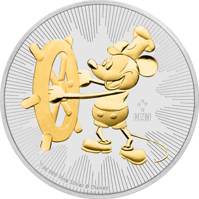Nieu 2017 $2 Steamboat Willie Mickey Mouse 1 Oz Silver Gilded Coin