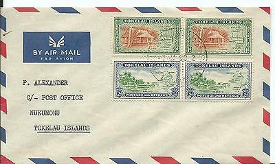 1960 Cover addressed to PO Tokelau Islands Backstamped 2 x 1d & 2 x 2d stamps