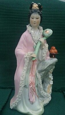 "Chinese Asian Woman Geisha Statue Figurine Bisque Porcelain 12"" tall"