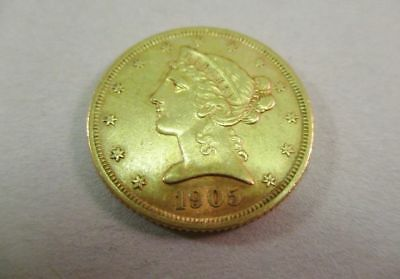 1905-S $5 Dollar Gold Liberty Head Coin Extremely Fine