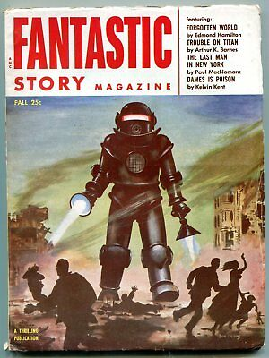 Fantastic Story Pulp Fall 1954- Robot cover- Forgotten World FN