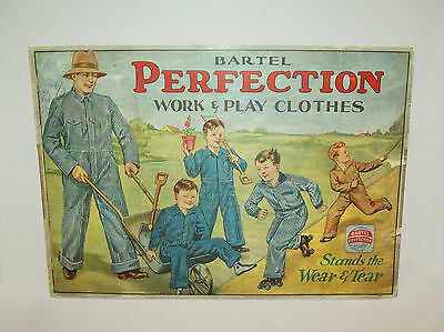 Wonderful 1920's ADVERTISING SIGN Perfection Work Clothes Denim Jeans Coveralls