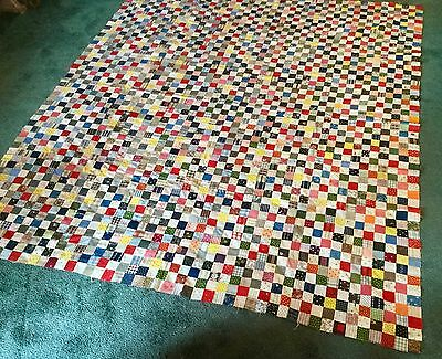 "COLORFUL  ANTIQUE  QUILT TOP  HAND PIECED AND SEWN 76"" x 68"""