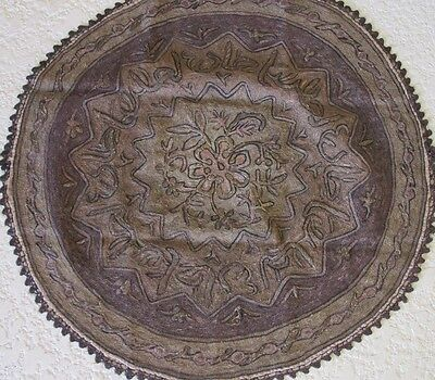 Antique Turkish Tablecloth Cotton Table Cover Embroidered Metallic Thread