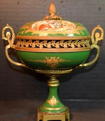 Sevres Style French Porcelain and Bronze Covered Bowl