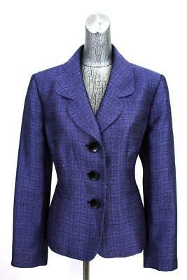 womens purple LE SUIT blazer jacket classic casual career wear to work L 14