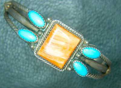 Navajo Sterling Turquoise Spiny Oyster Cuff Bracelet, Signed Running Bear, Mint