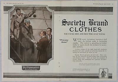 1919 World War I WWI Society Brand Clothes for the Civilian Army Print Ad