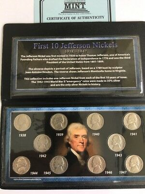 First 10 Jefferson Nickels 1938 To 1947 Set With  Silver #X101