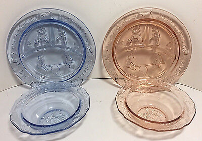 Vintage Tiara Glass Mother Goose Nursery Rhyme Bowls & Plates (1 Blue & 1 Pink)