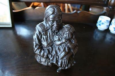 Merle Fisk Olson BRONZE Sculpture NAVAJO MOTHER AND CHILD Native American