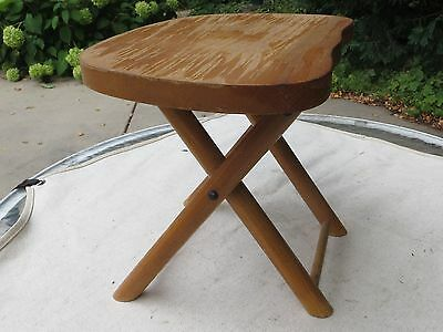 Vintage Nevco Folding Carry Stool Wood Camping Cabin Milking Mid Century