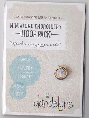 "Miniature Embroidery Hoop Pack - Single 1"" (2.5 cms) Circle Hoop - fun jewellery"