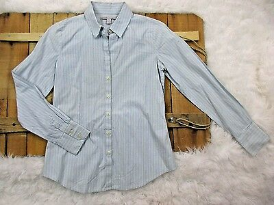 Old Navy women's size Small Blue Striped Button Up long sleeve Dress Shirt O3